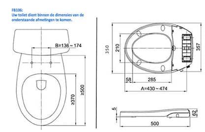 Maro-FB106-technische-montage-tekening-douche wc