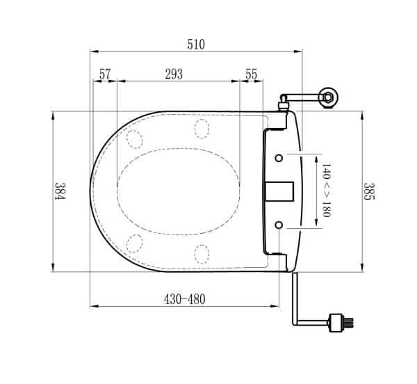 Maro DI600 technische tekening douchewc frissebips