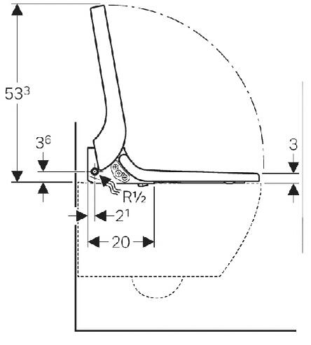 Technische tekening Geberit AquaClean Tuma installatie
