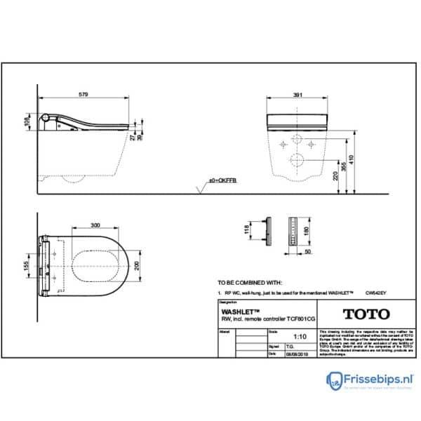 TOTO-Washlet-RW-Technische-Tekening